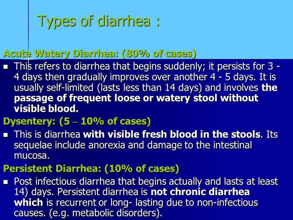 Types of diarrhea : Acute Watery Diarrhea: (80% of cases)