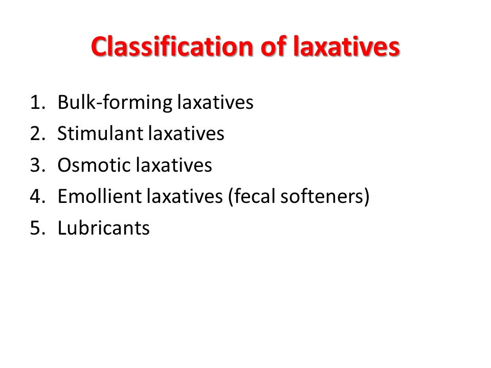 Classification of laxatives