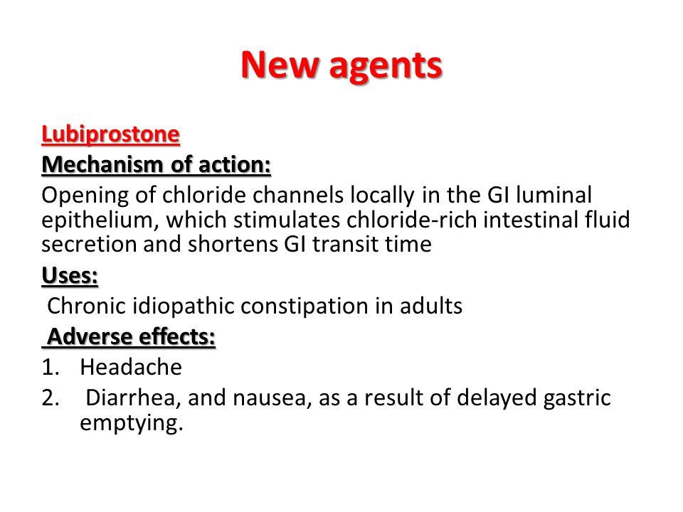 New agents Lubiprostone Mechanism of action: