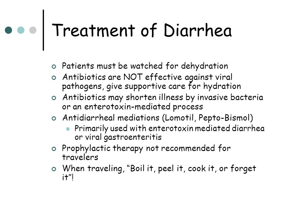 Treatment of Diarrhea Patients must be watched for dehydration