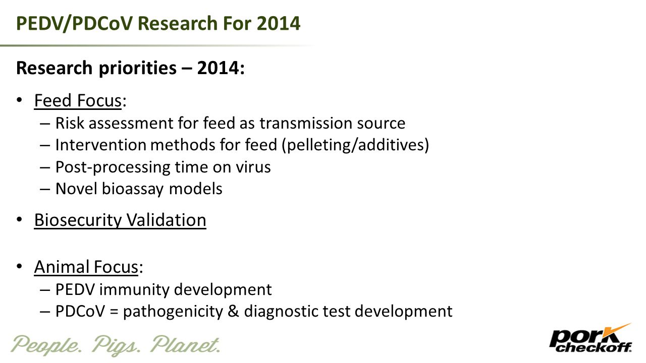PEDV/PDCoV Research For 2014