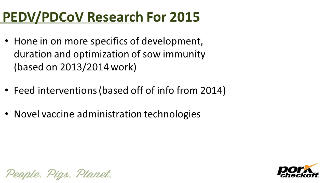 PEDV/PDCoV Research For 2015