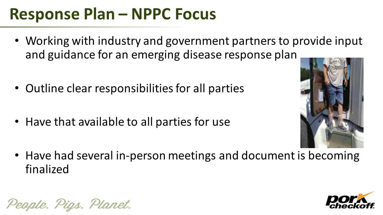Response Plan – NPPC Focus