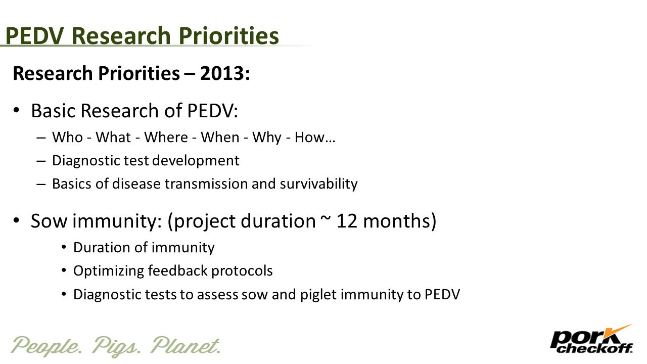 PEDV Research Priorities