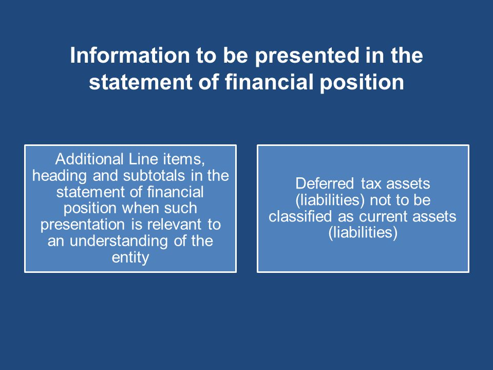Information to be presented in the statement of financial position