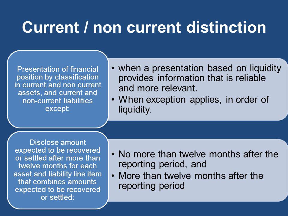 Current / non current distinction
