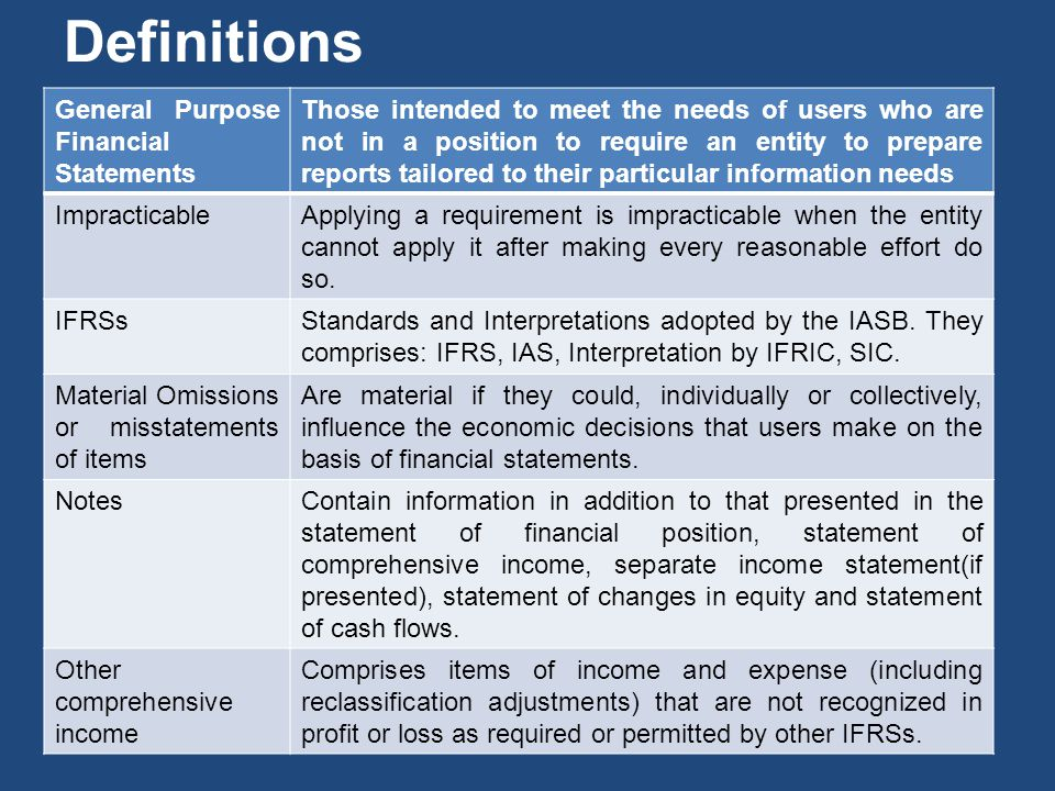 Definitions General Purpose Financial Statements