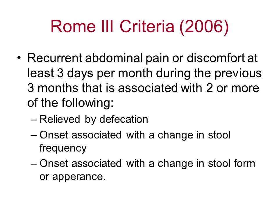 Rome III Criteria (2006)