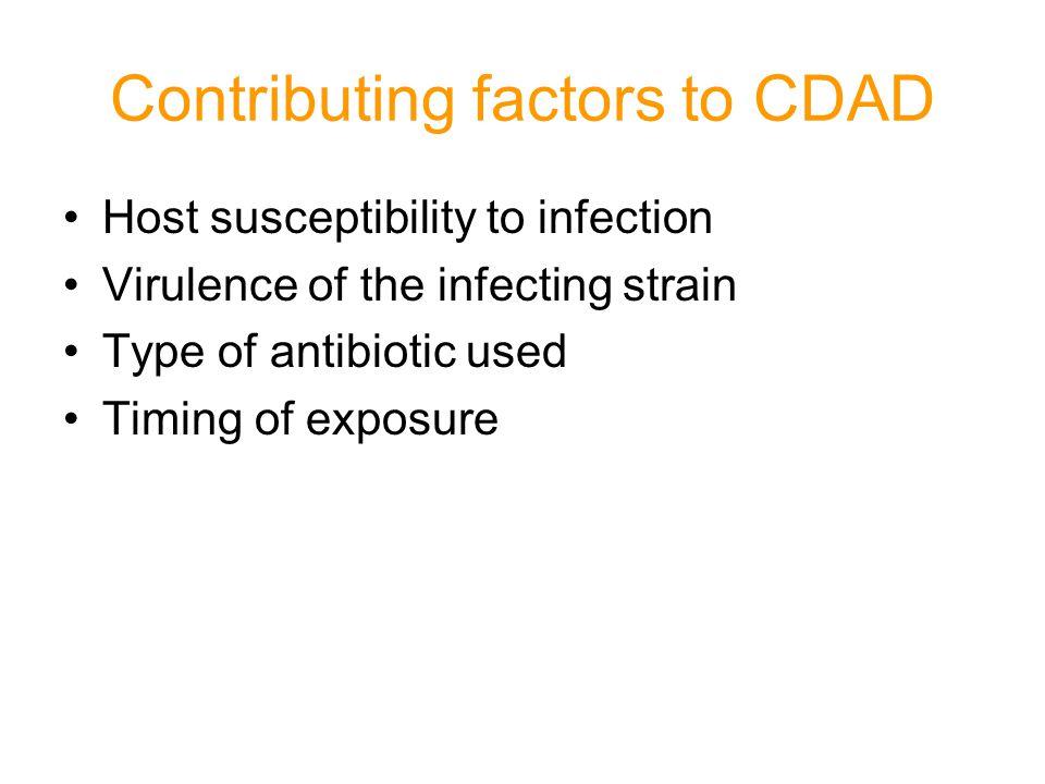 Contributing factors to CDAD