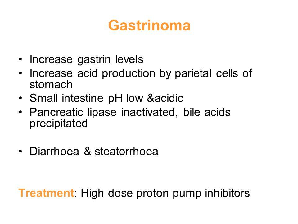 Gastrinoma Increase gastrin levels