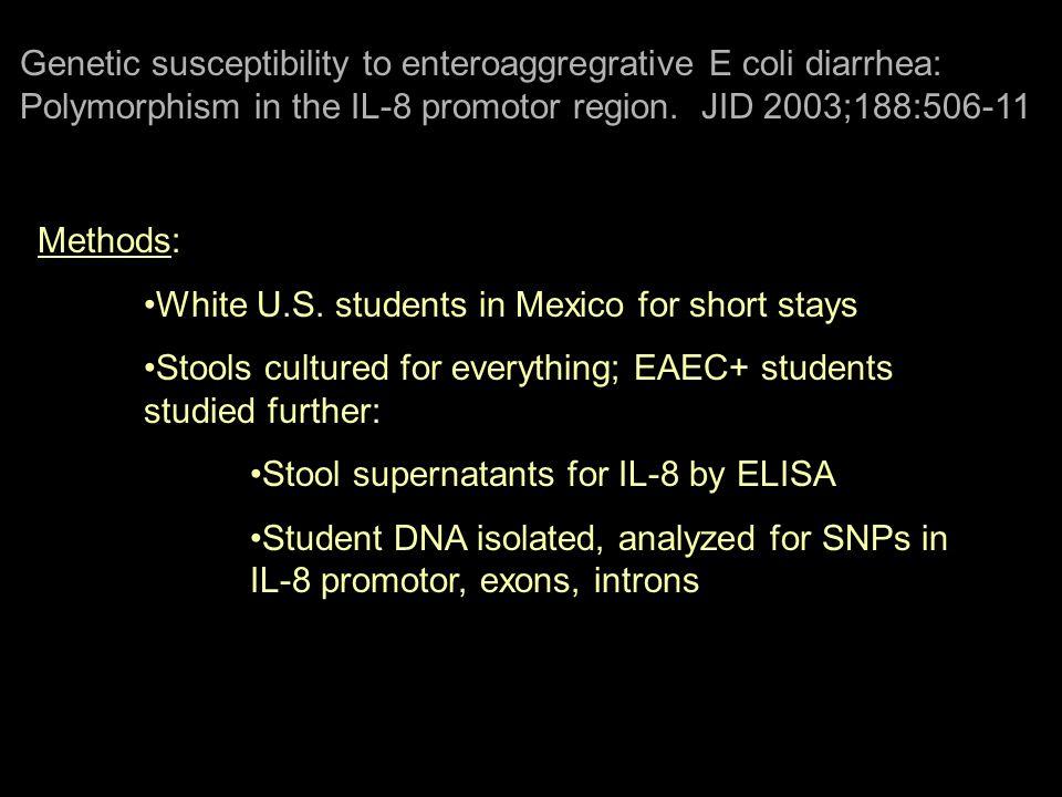 Genetic susceptibility to enteroaggregrative E coli diarrhea: Polymorphism in the IL-8 promotor region. JID 2003;188:506-11