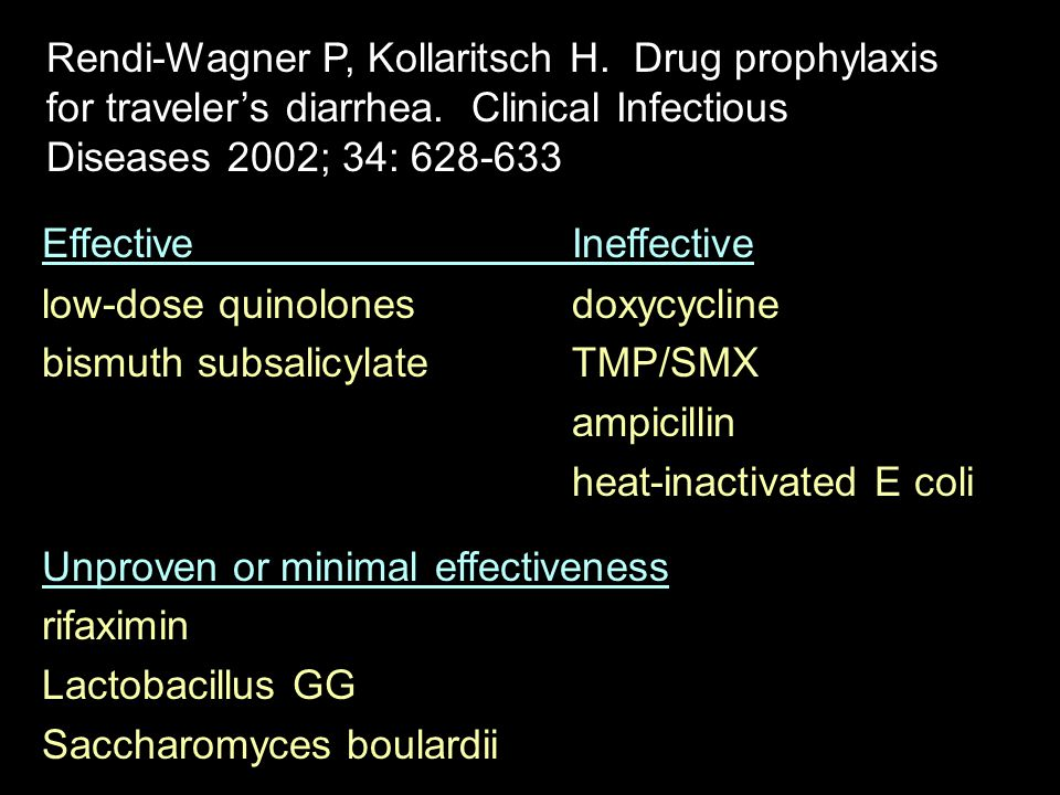 Rendi-Wagner P, Kollaritsch H. Drug prophylaxis for traveler's diarrhea. Clinical Infectious Diseases 2002; 34: 628-633