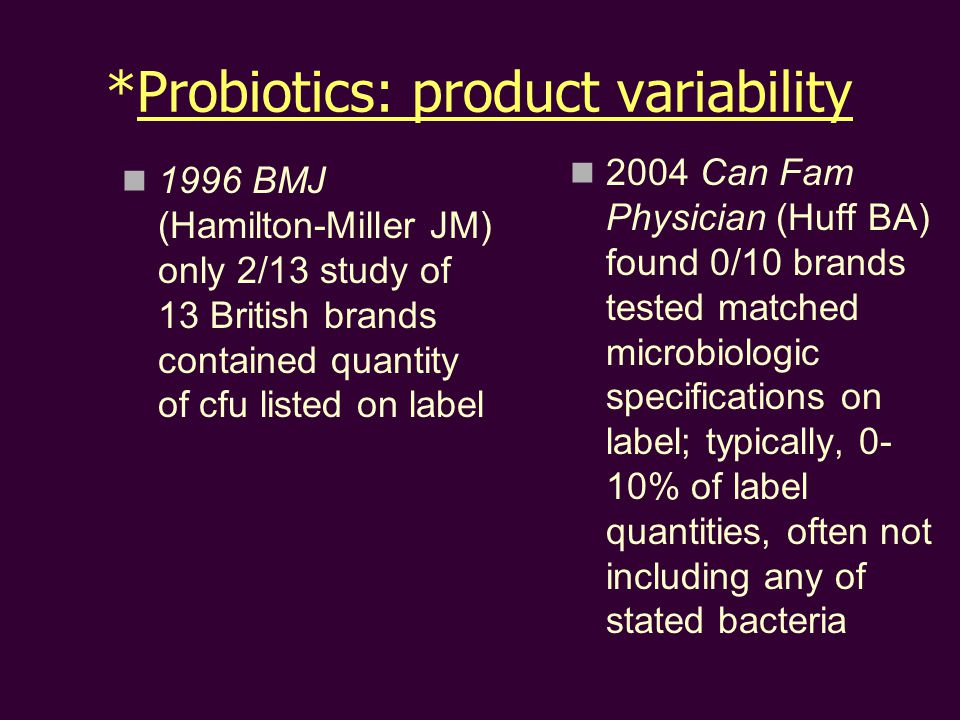 *Probiotics: product variability