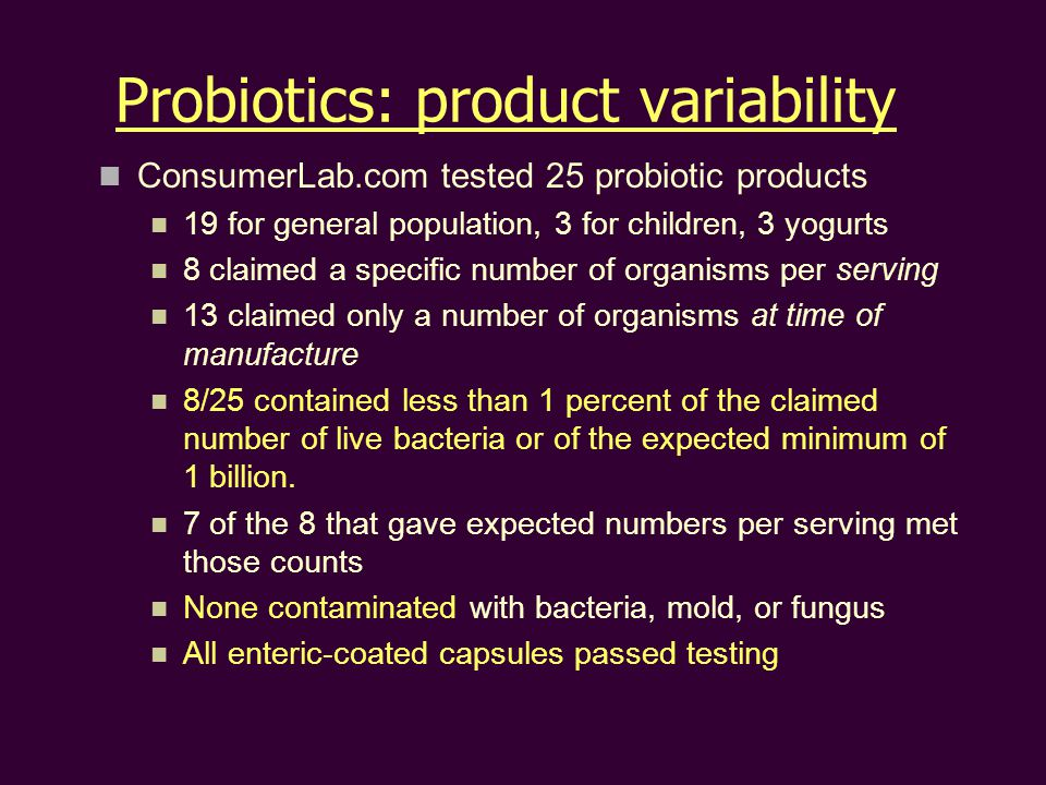 Probiotics: product variability