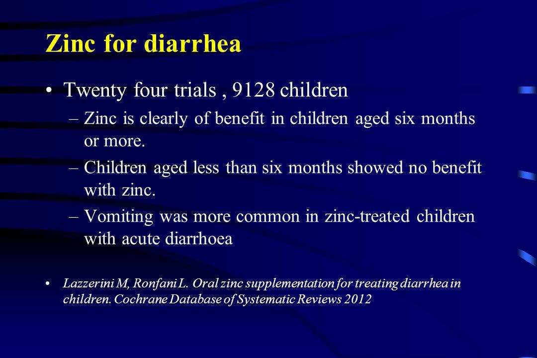 Zinc for diarrhea Twenty four trials , 9128 children