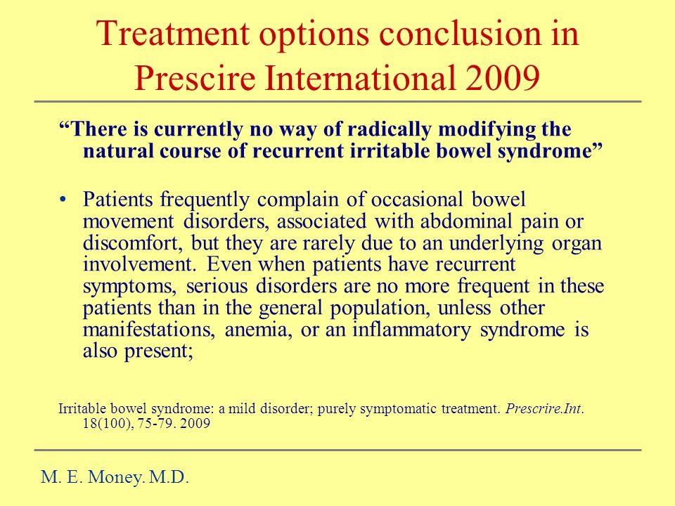 Treatment options conclusion in Prescire International 2009