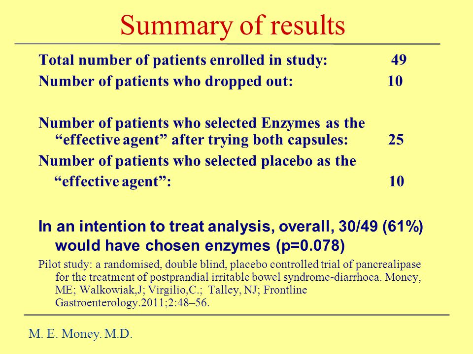 Summary of results Total number of patients enrolled in study: 49