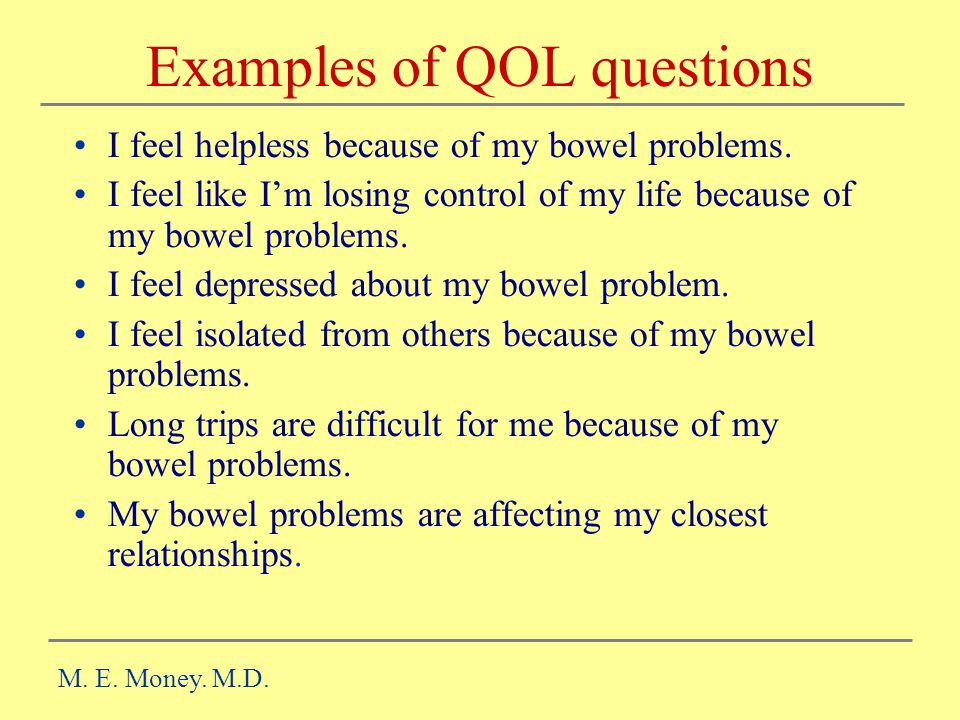 Examples of QOL questions
