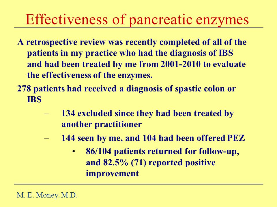 Effectiveness of pancreatic enzymes