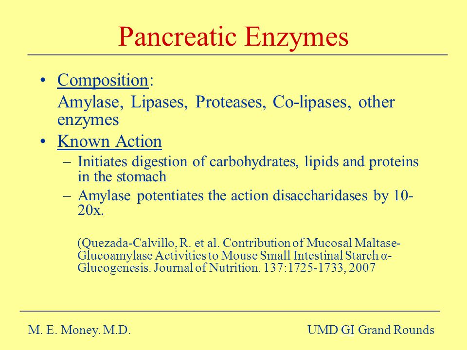 Pancreatic Enzymes Composition: