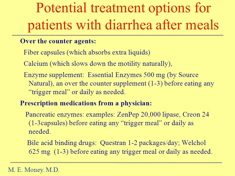 Potential treatment options for patients with diarrhea after meals