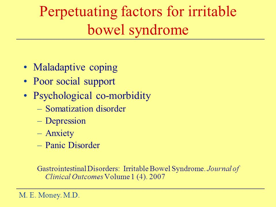 Perpetuating factors for irritable bowel syndrome
