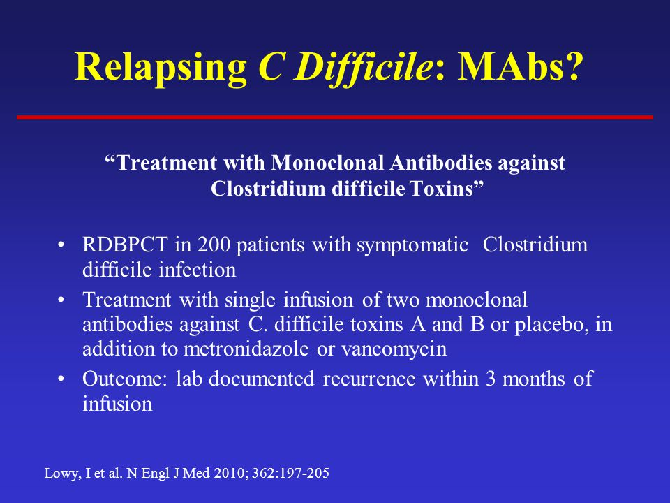 Relapsing C Difficile: MAbs