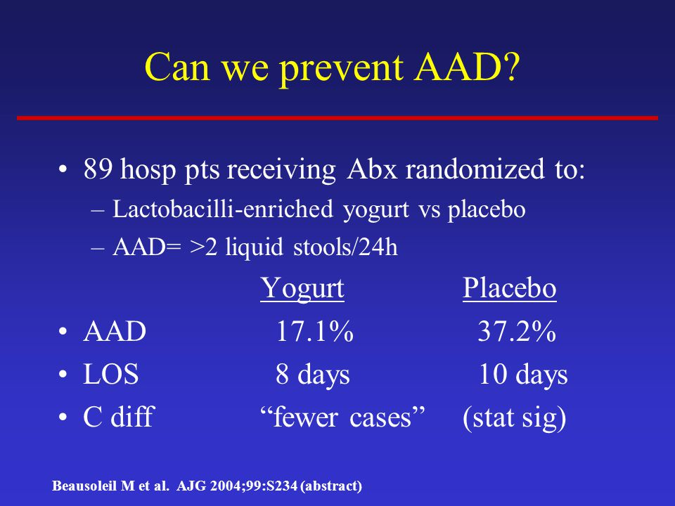 Can we prevent AAD 89 hosp pts receiving Abx randomized to: