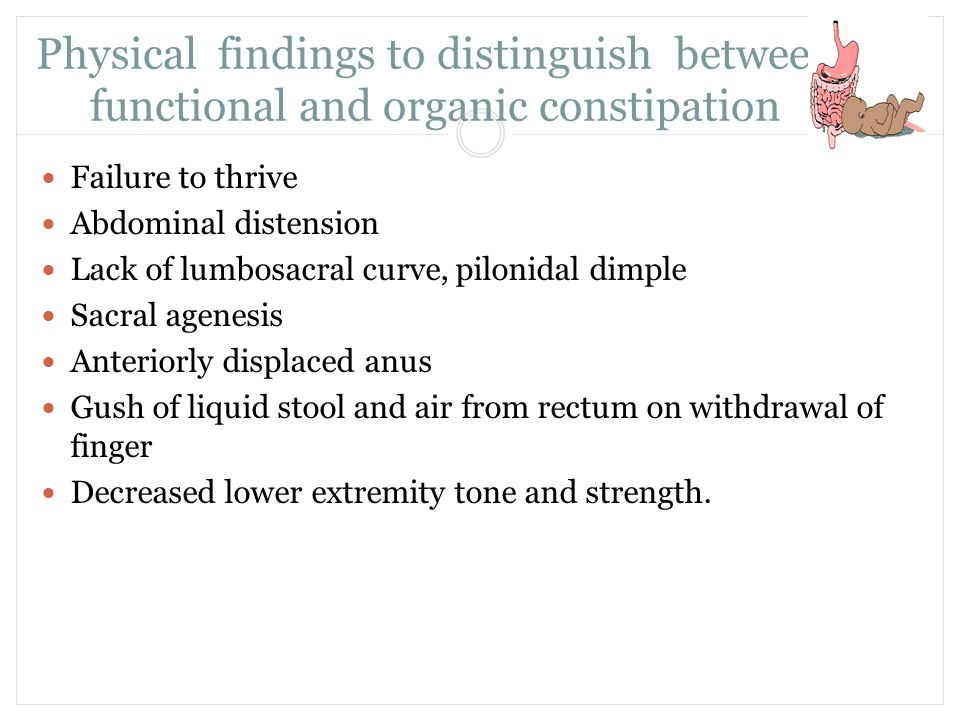 Physical findings to distinguish between functional and organic constipation