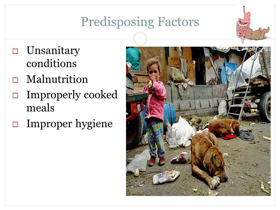 Predisposing Factors Unsanitary conditions Malnutrition