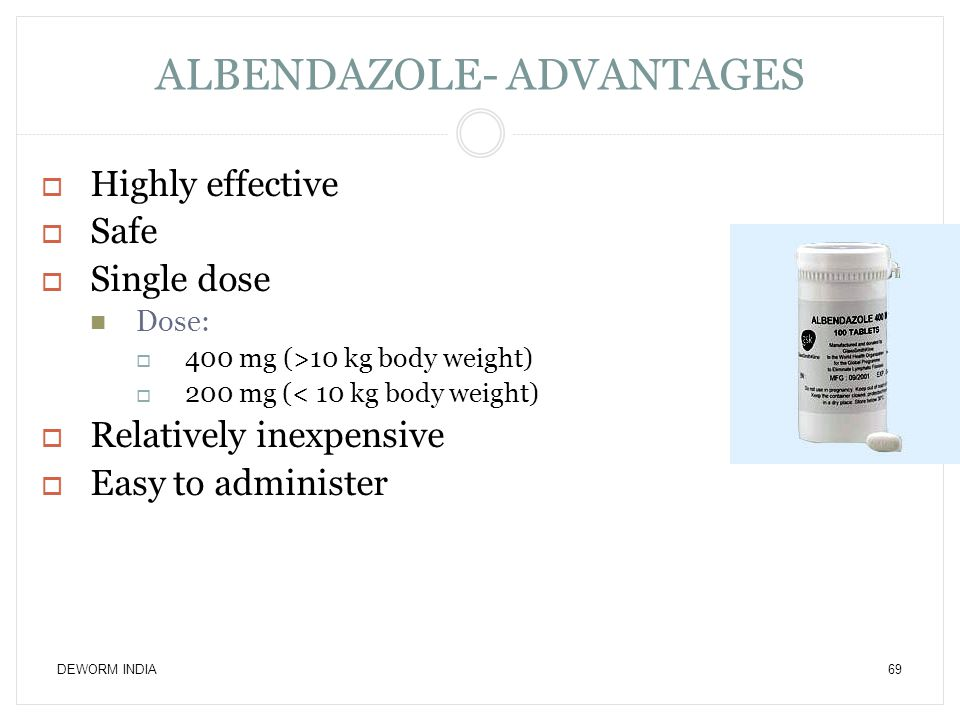 ALBENDAZOLE- ADVANTAGES