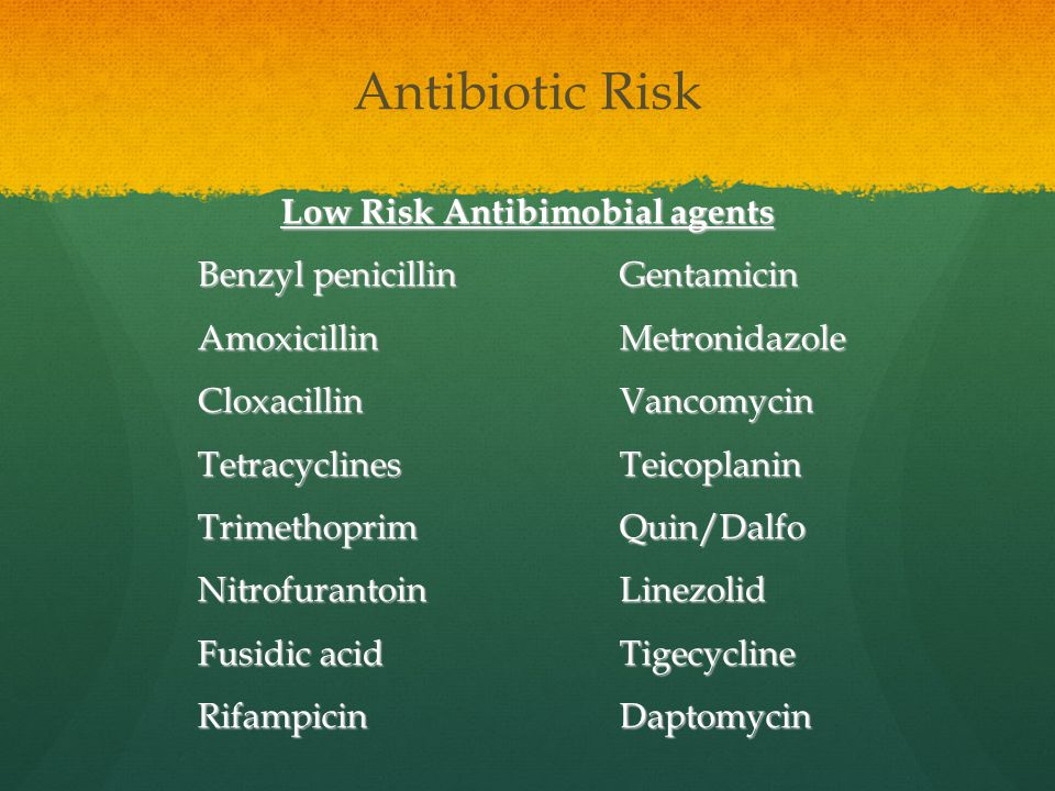 Low Risk Antibimobial agents