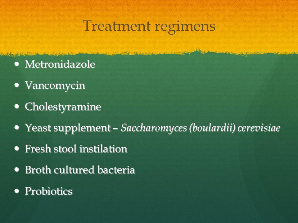 Treatment regimens Metronidazole Vancomycin Cholestyramine
