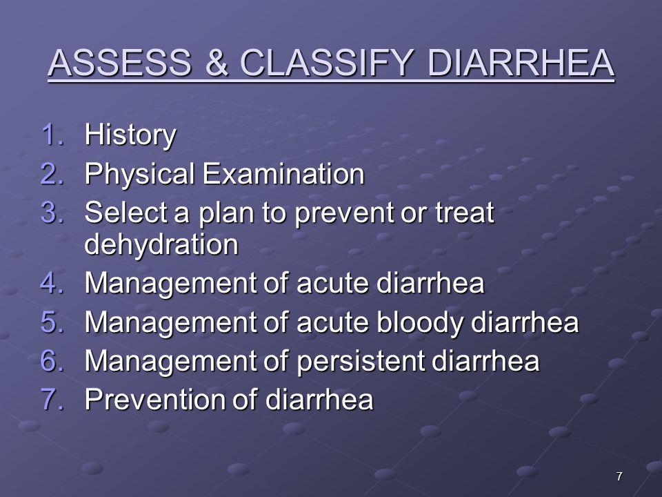 ASSESS & CLASSIFY DIARRHEA
