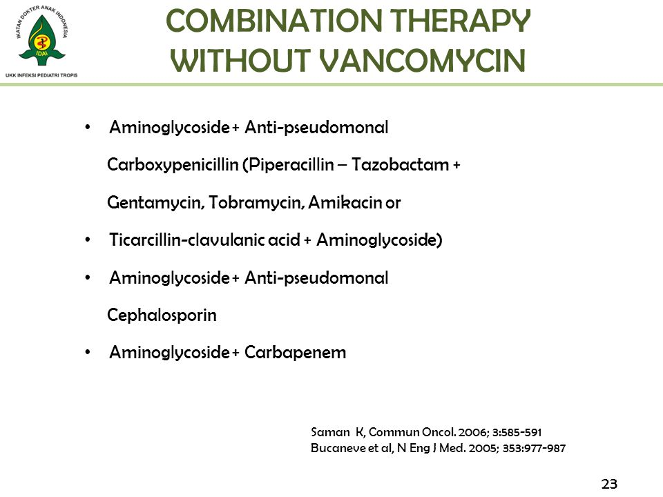 COMBINATION THERAPY WITHOUT VANCOMYCIN