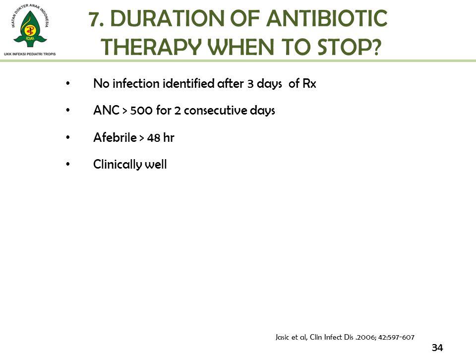7. DURATION OF ANTIBIOTIC