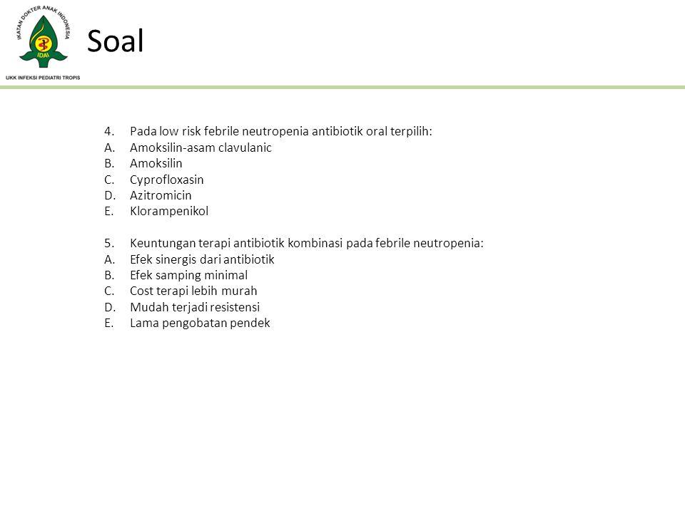 Soal Pada low risk febrile neutropenia antibiotik oral terpilih: