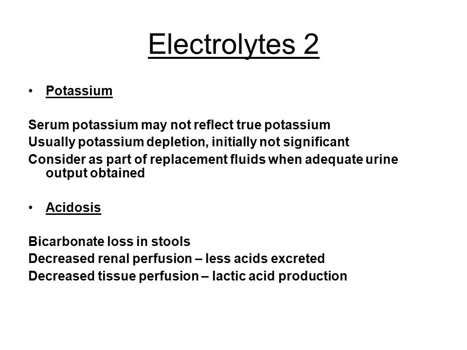Electrolytes 2 Potassium
