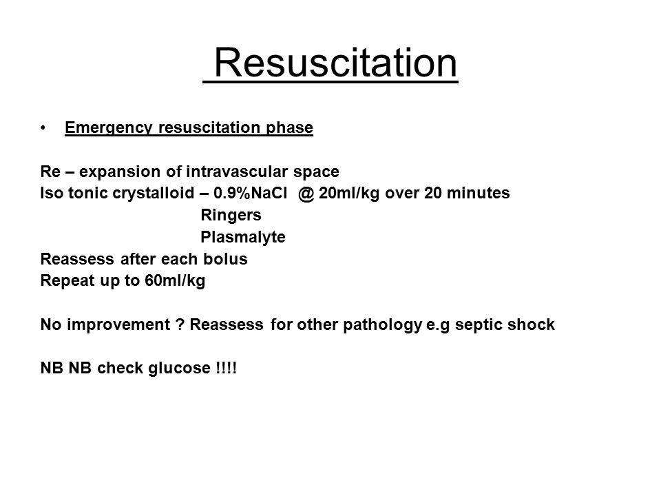 Resuscitation Emergency resuscitation phase
