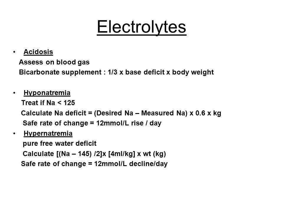 Electrolytes Acidosis Assess on blood gas