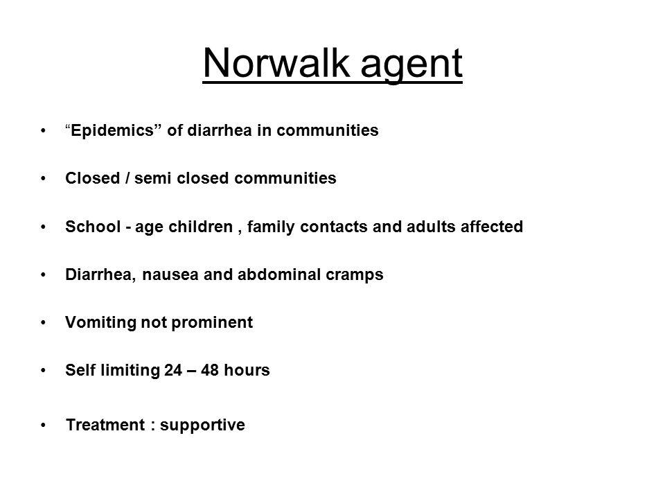 Norwalk agent Epidemics of diarrhea in communities