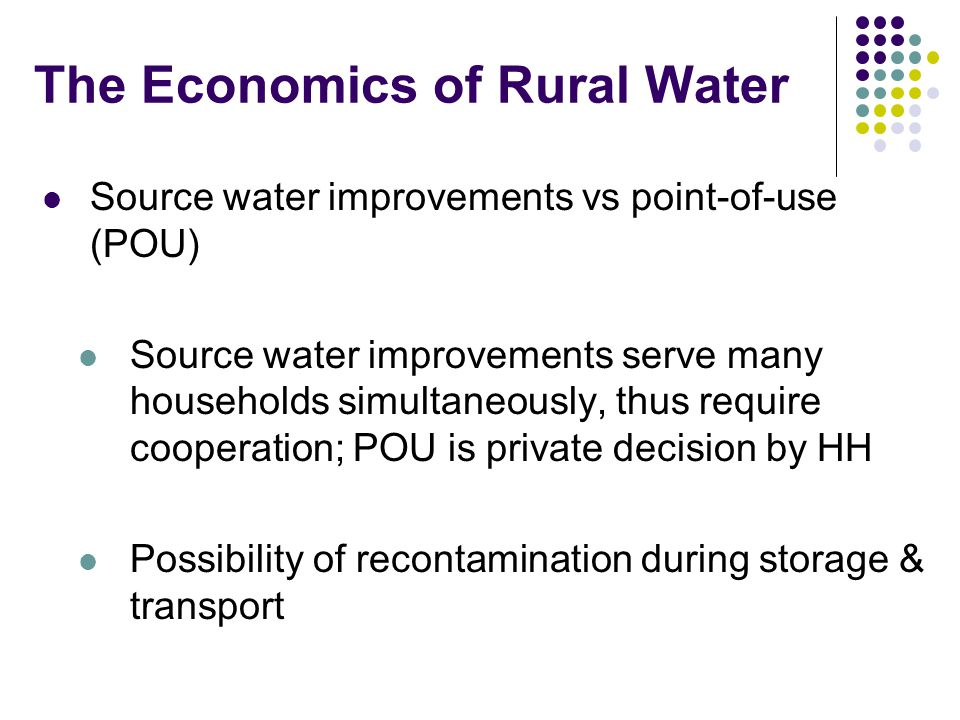 The Economics of Rural Water