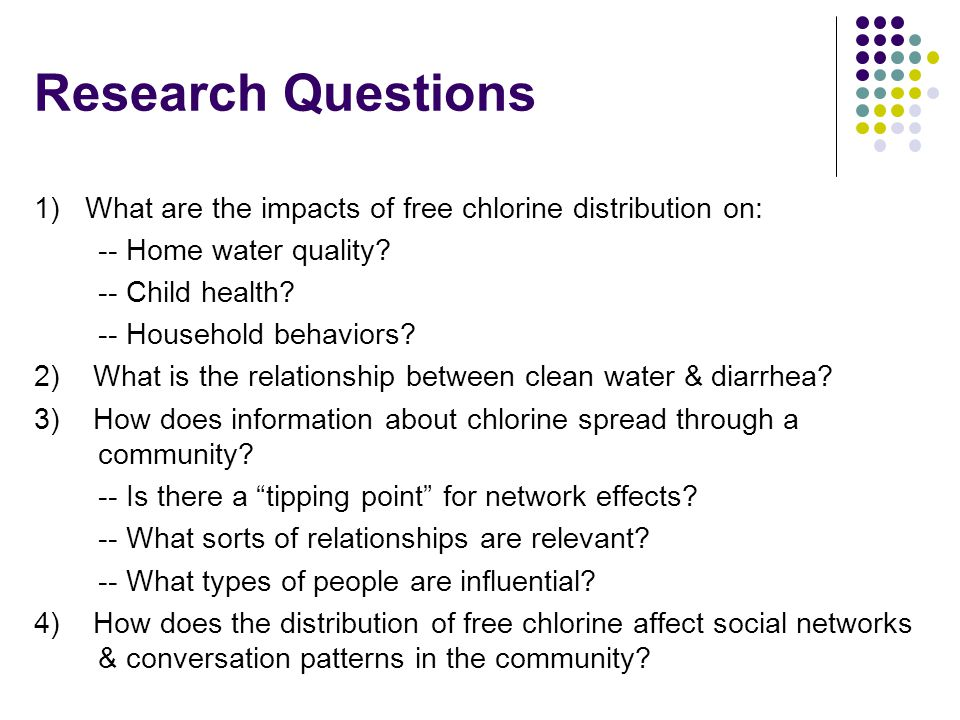 SPRING CLEANING NOTES Research Questions. 1) What are the impacts of free chlorine distribution on:
