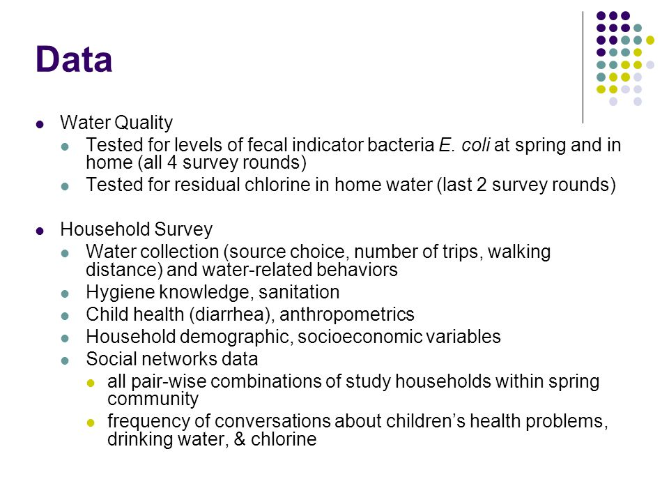 SPRING CLEANING NOTES Data. Water Quality. Tested for levels of fecal indicator bacteria E. coli at spring and in home (all 4 survey rounds)