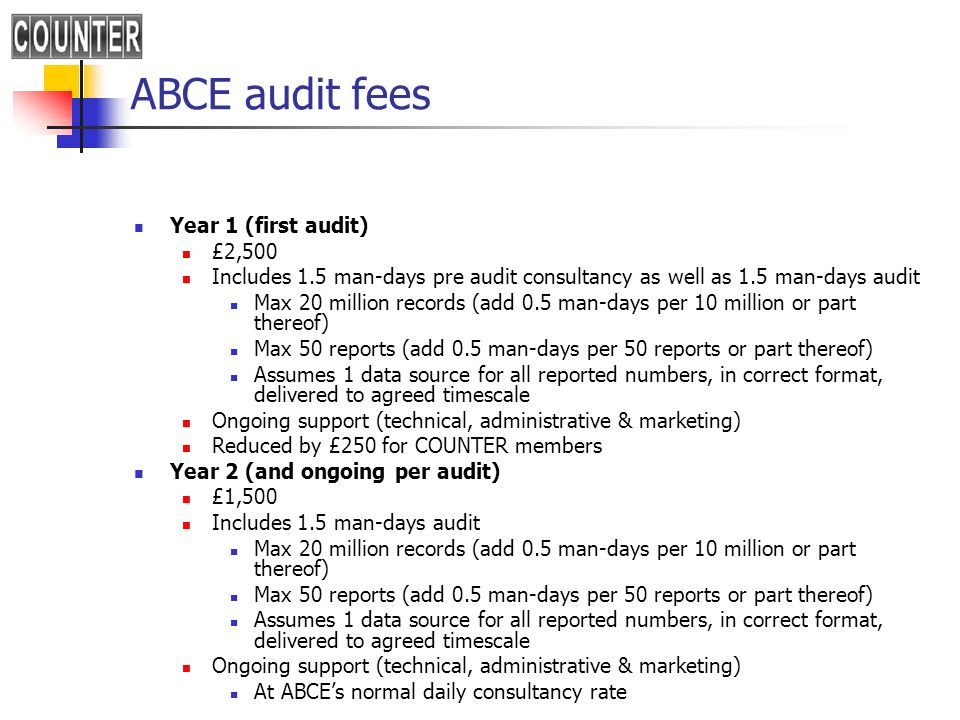 ABCE audit fees Year 1 (first audit) £2,500