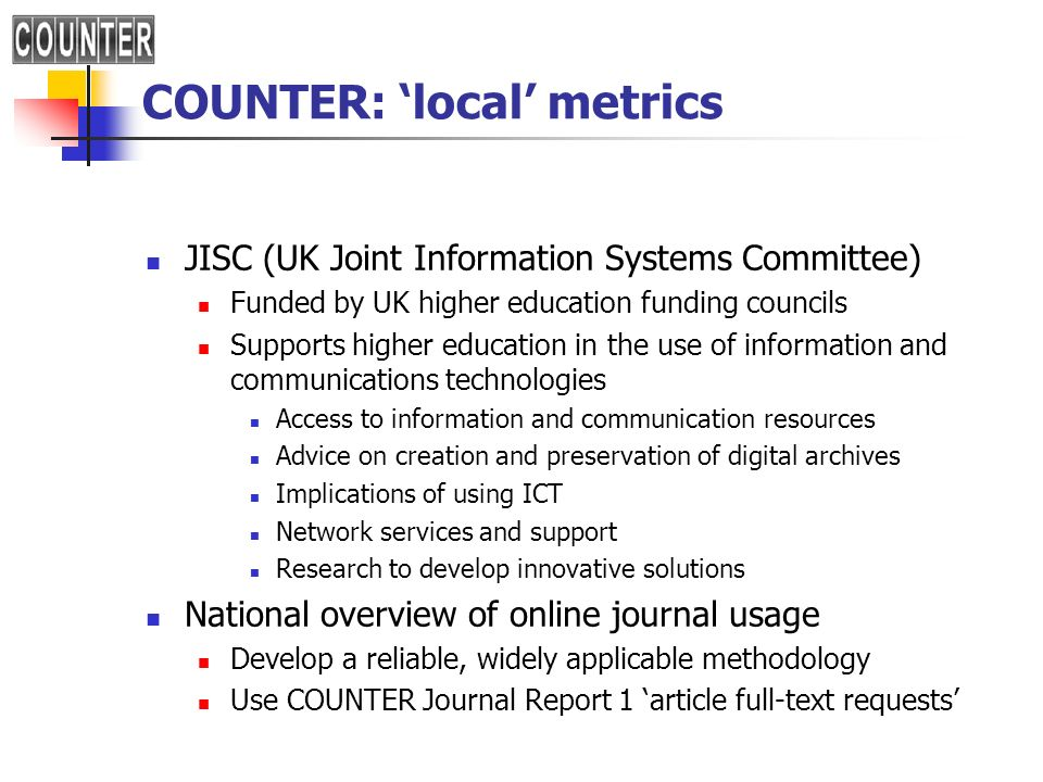 COUNTER: 'local' metrics