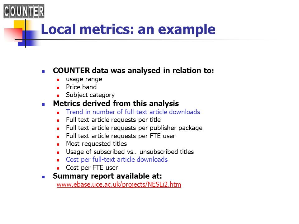 Local metrics: an example