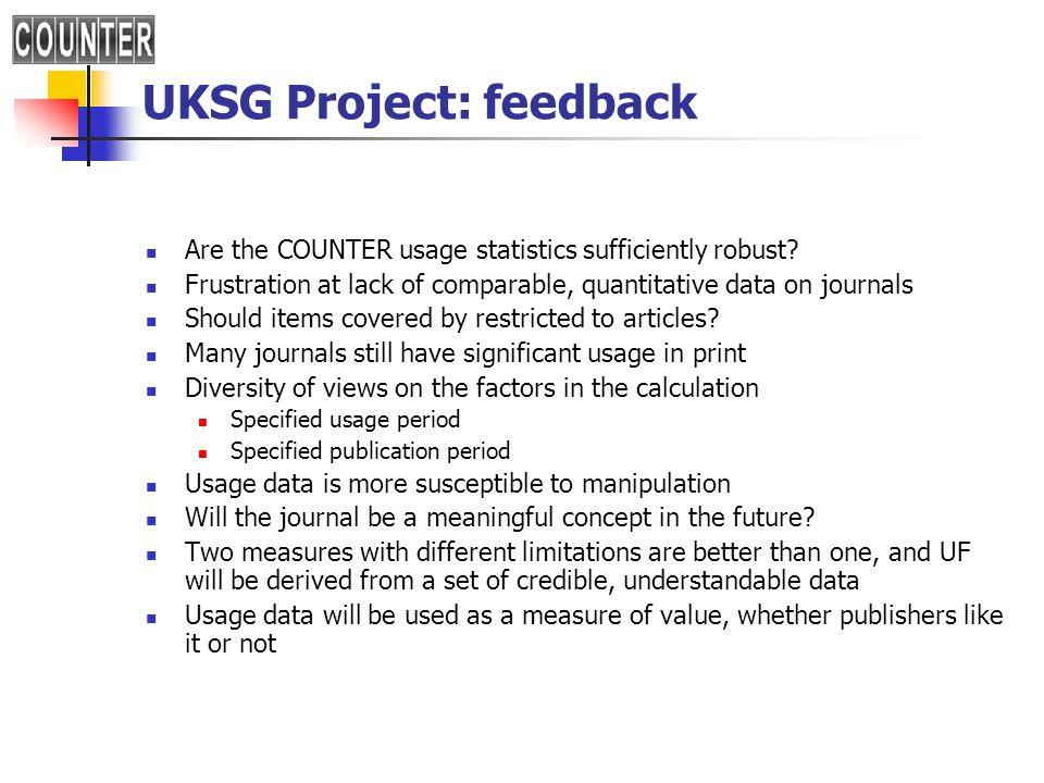UKSG Project: feedback