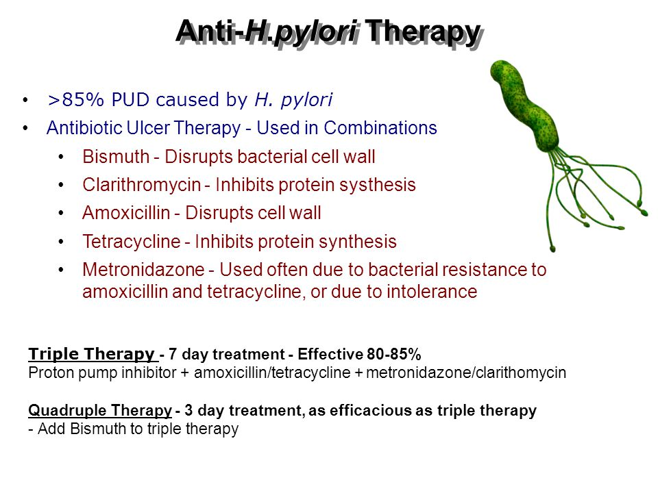 Anti-H.pylori Therapy >85% PUD caused by H. pylori