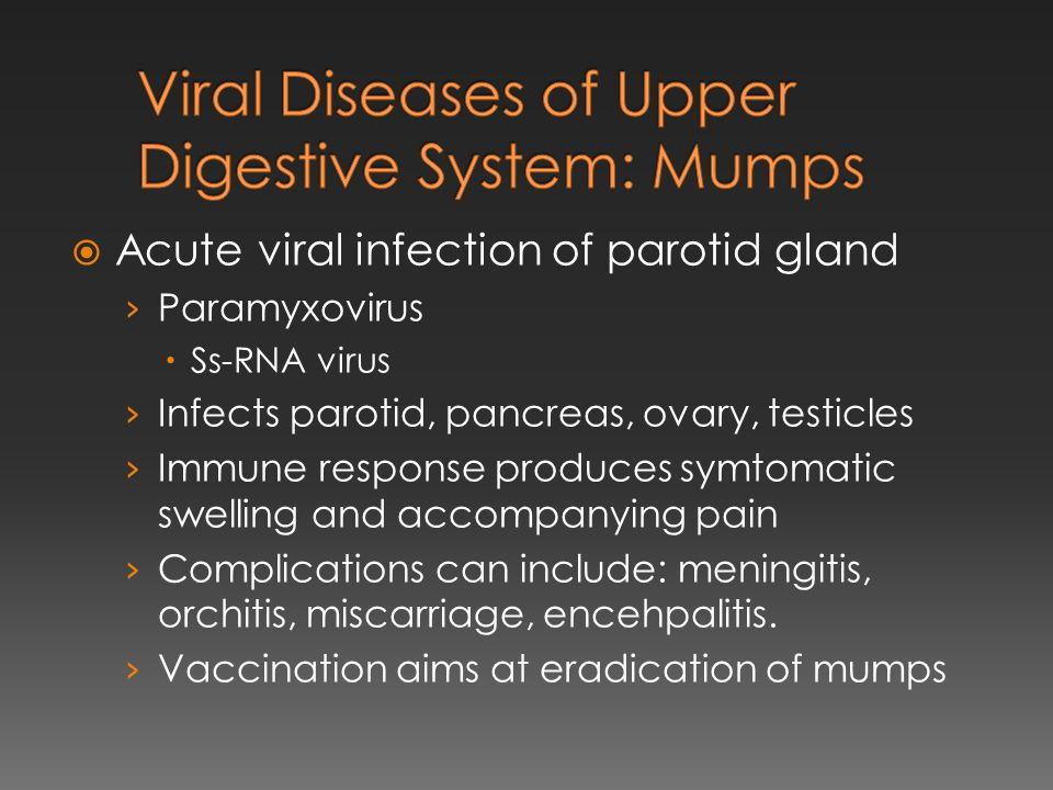Viral Diseases of Upper Digestive System: Mumps